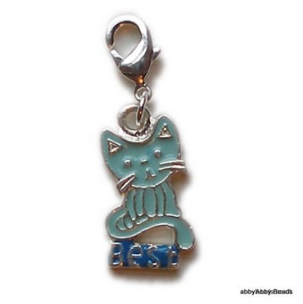 Best friend cat charm enamelled & Silver plated